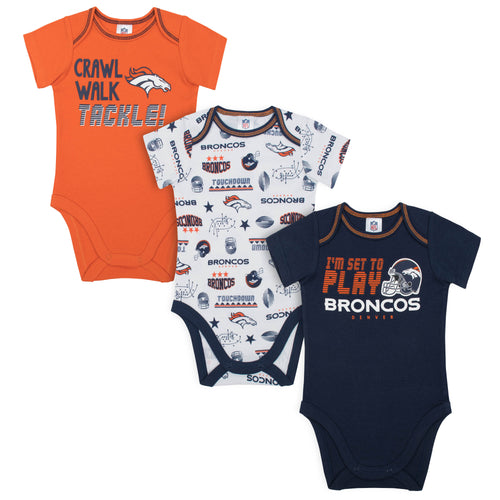Broncos All Set To Play 3 Pack Short Sleeved Onesies Bodysuits