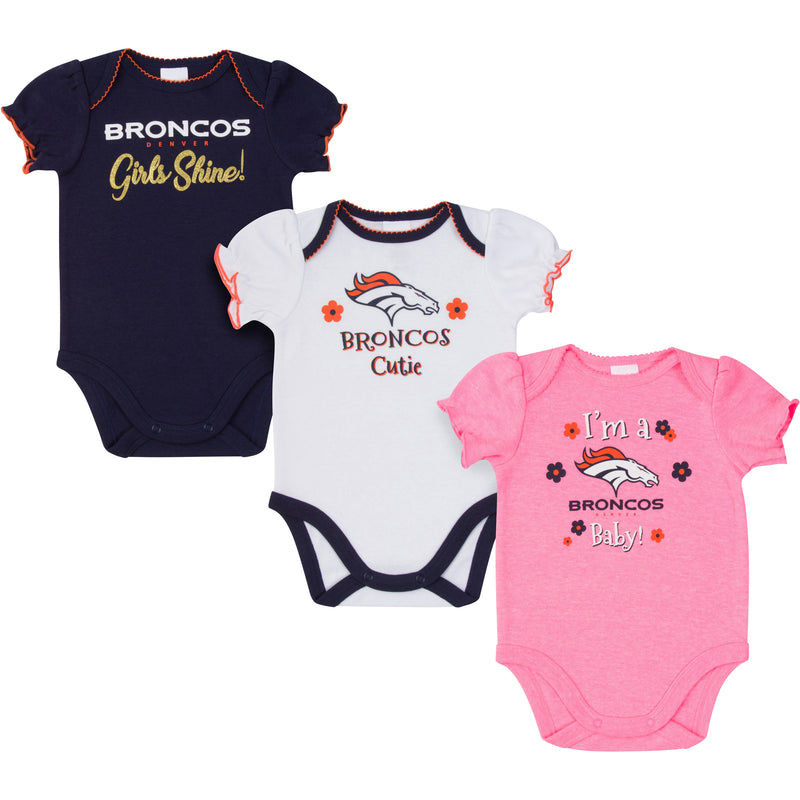 Broncos Girls Shine 3 Pack Short Sleeved Onesies