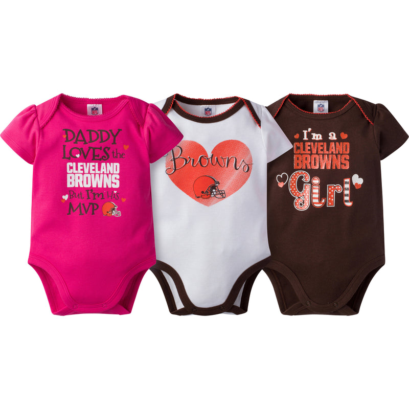 Browns Girls 3 Pack Short Sleeved Onesies