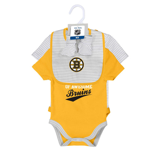 Bruins 2 Pack Bodysuits, Bib and Booties