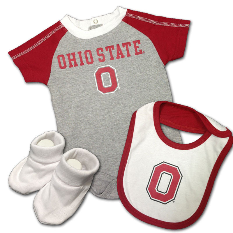 Baby Buckeye Creeper, Bib & Bootie Outfit