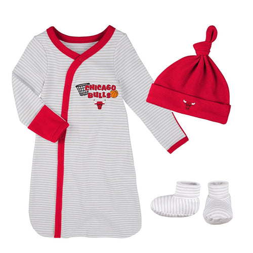 Bulls Newborn Gown, Cap, and Booties