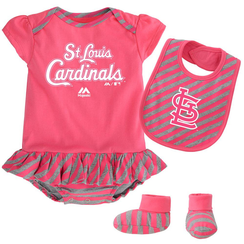 Cardinals Girl Pink Striped Bib, Bootie and Creeper Set
