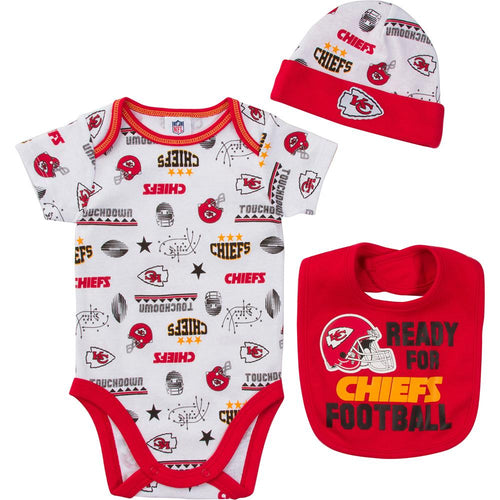 Chiefs Baby Boy Bodysuit, Cap and Bib Set