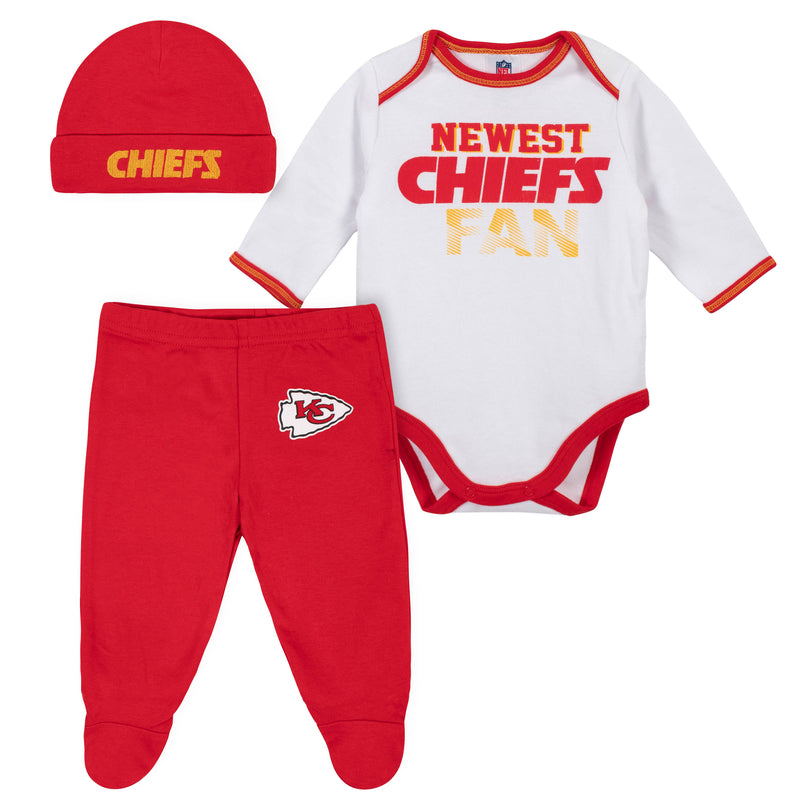 Newest Chiefs Fan Baby Boy Bodysuit, Footed Pant & Cap Set