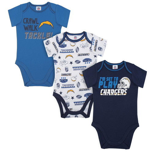 Chargers Baby Boys 3 Pack Short Sleeve Bodysuit