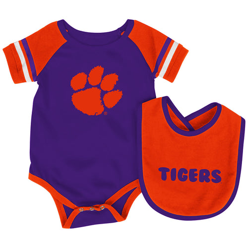 Clemson Baby Roll Out Onesie and Bib Set