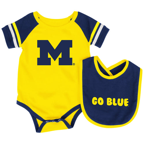 University of michigan baby clothes babyfans babyfans michigan baby roll out onesie and bib set negle Choice Image