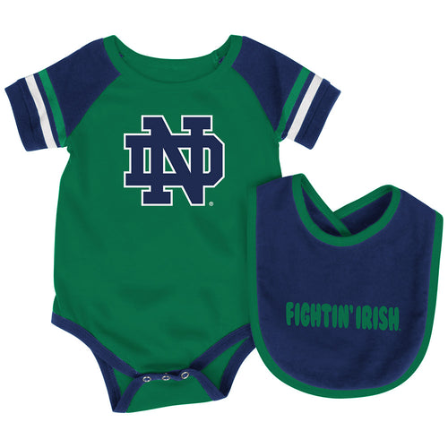 Notre Dame Baby Roll Out Onesie and Bib Set