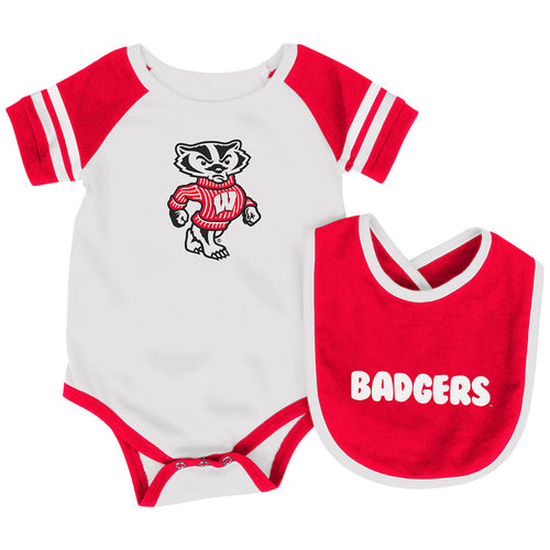 Wisconsin Baby Roll Out Onesie and Bib Set