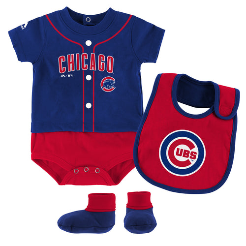 Cubs Baby Ball Player Creeper Bib and Bootie Set