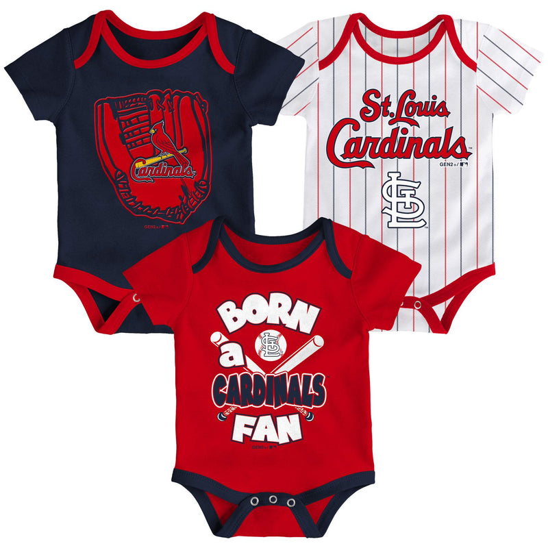 Cardinals Baseball Fan 3 Pack Bodysuit Set