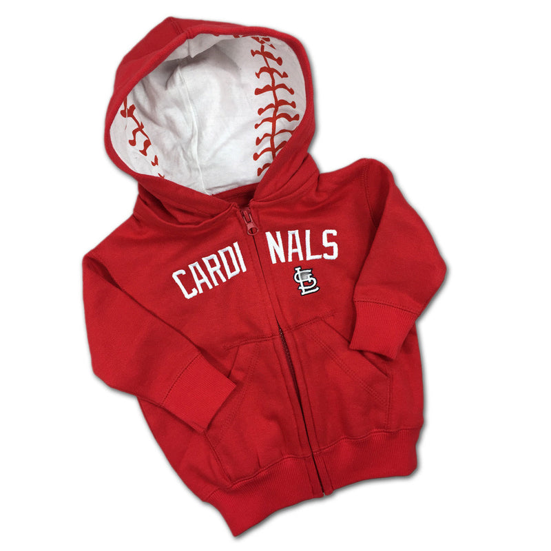 Embroidered Zip Up Cardinals Baby Hoodie