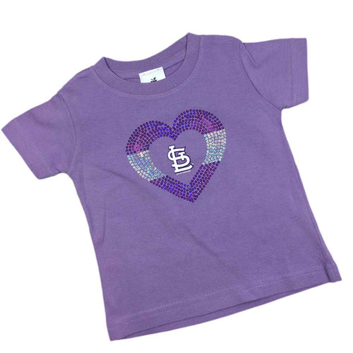 Sparkly Heart Lavender Cardinals Tee