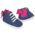 Infant Chambray High Top Sneaker with Hot Pink Bow