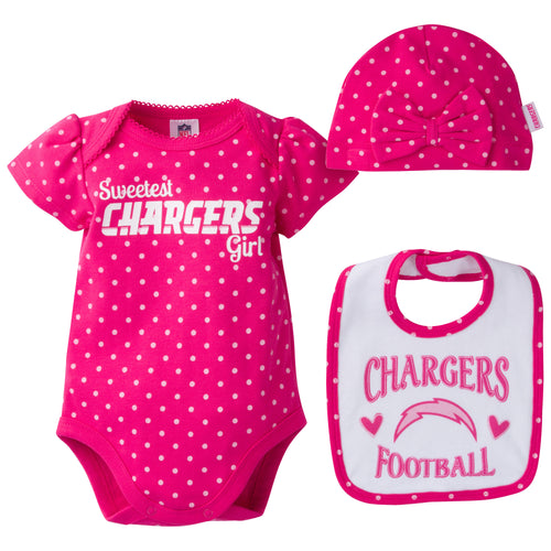 Infant Chargers Girl Onesie, Bib and Cap