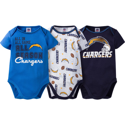 Chargers Infant 3-Pack Logo Onesies