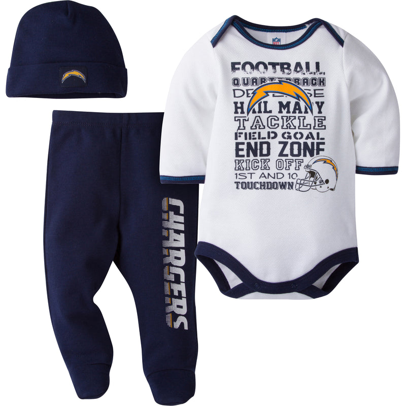 Chargers Baby 3 Piece Outfit