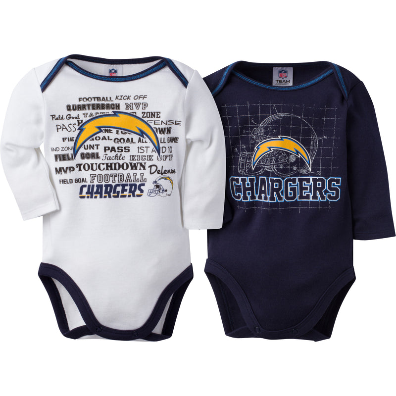 Chargers Infant Long Sleeve Logo Onesies-2 Pack