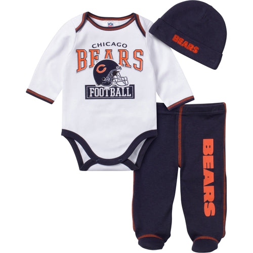 82ea2d5275b ... Baby Bears Fan 3 Piece Outfit Pink 12 mo infant chicago bears football jersey  shirt nfl ...