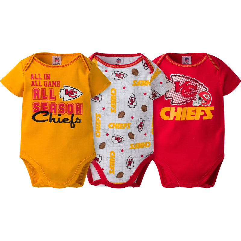 Chiefs Infant 3-Pack Logo Onesies
