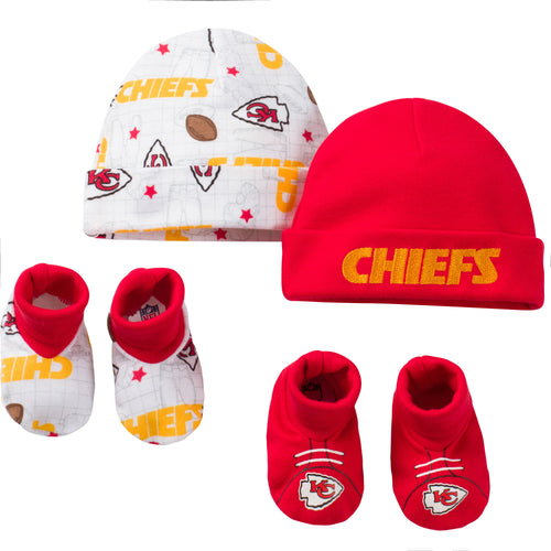 Chiefs 4pc Baby Knit Hats and Booties