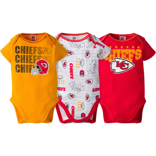 Chiefs Baby 3 Pack Short Sleeve Onesies