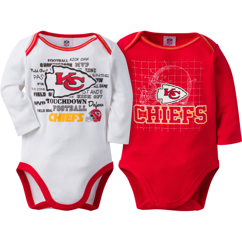 Chiefs Infant Long Sleeve Logo Onesies-2 Pack