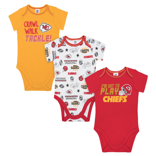 Chiefs All Set To Play 3 Pack Short Sleeved Onesies Bodysuits
