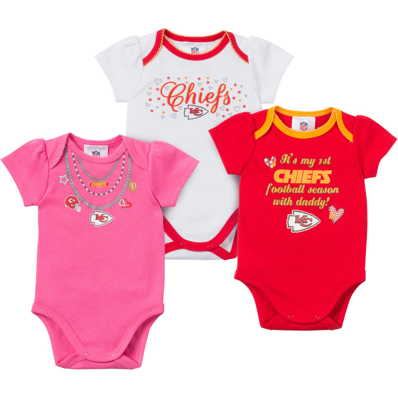 Baby Chiefs Girl Onesie 3 Pack