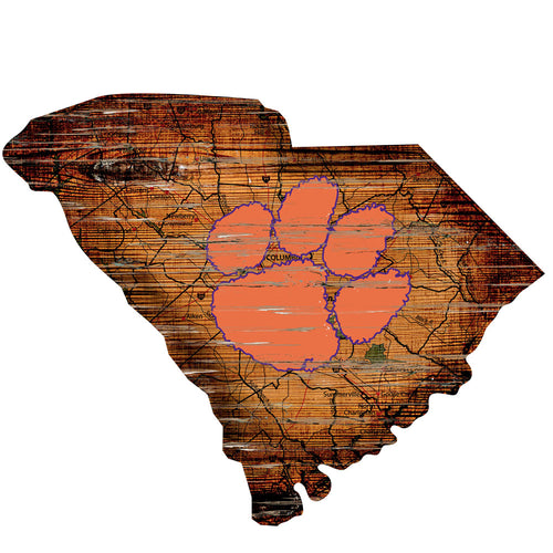 Clemson Room Decor - State Sign