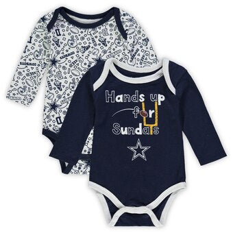 Cowboys 2 Pack Long Sleeve Bodysuits