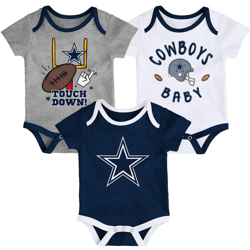 Cowboys Baby 3 Piece Bodysuit Set