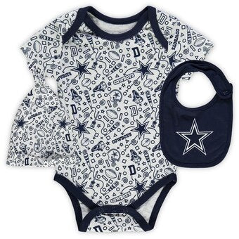 Dallas Cowboys Bodysuit, Bib and Cap Set