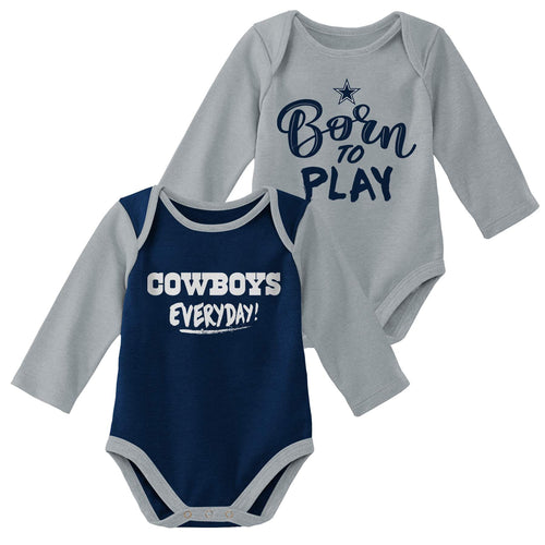 Cowboys 2 Pack Long Sleeve Bodysuit Set
