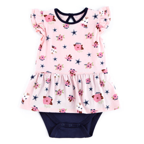 Cowboys Girl Floral Bodysuit Dress