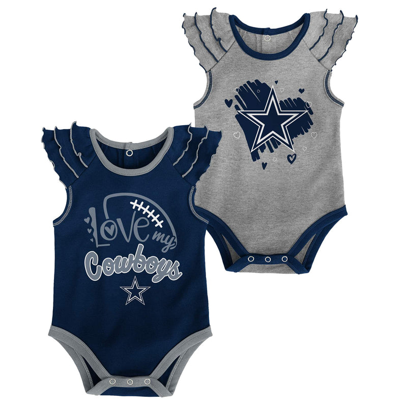 Cowboys Girls 2 Pack Ruffled Bodysuit Set