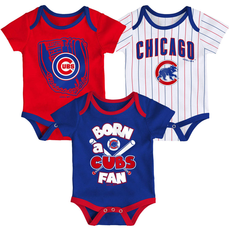 Cubs Baseball Fan 3 Pack Bodysuit Set