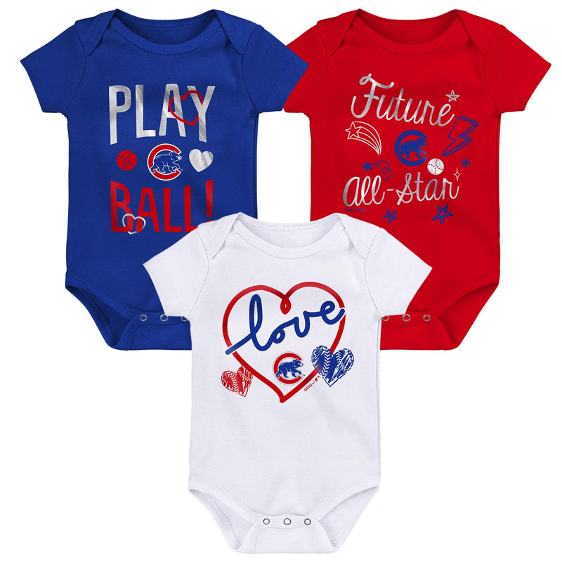 Cubs Girl 3 Piece Bodysuit Set