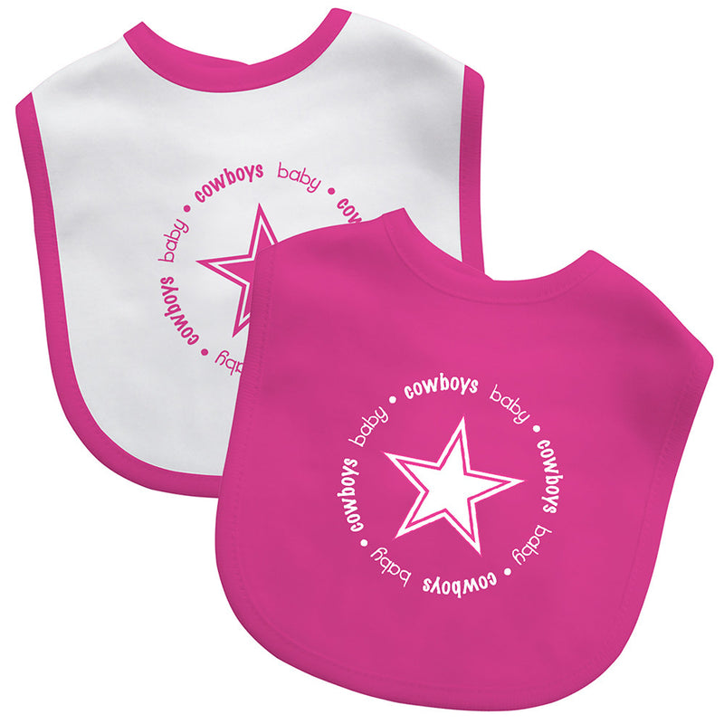 Pink Cowboys Two Pack Baby Bibs