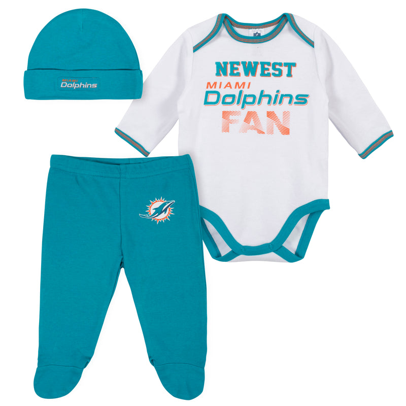 Newest Dolphins Fan Baby Boy Bodysuit, Footed Pant & Cap Set