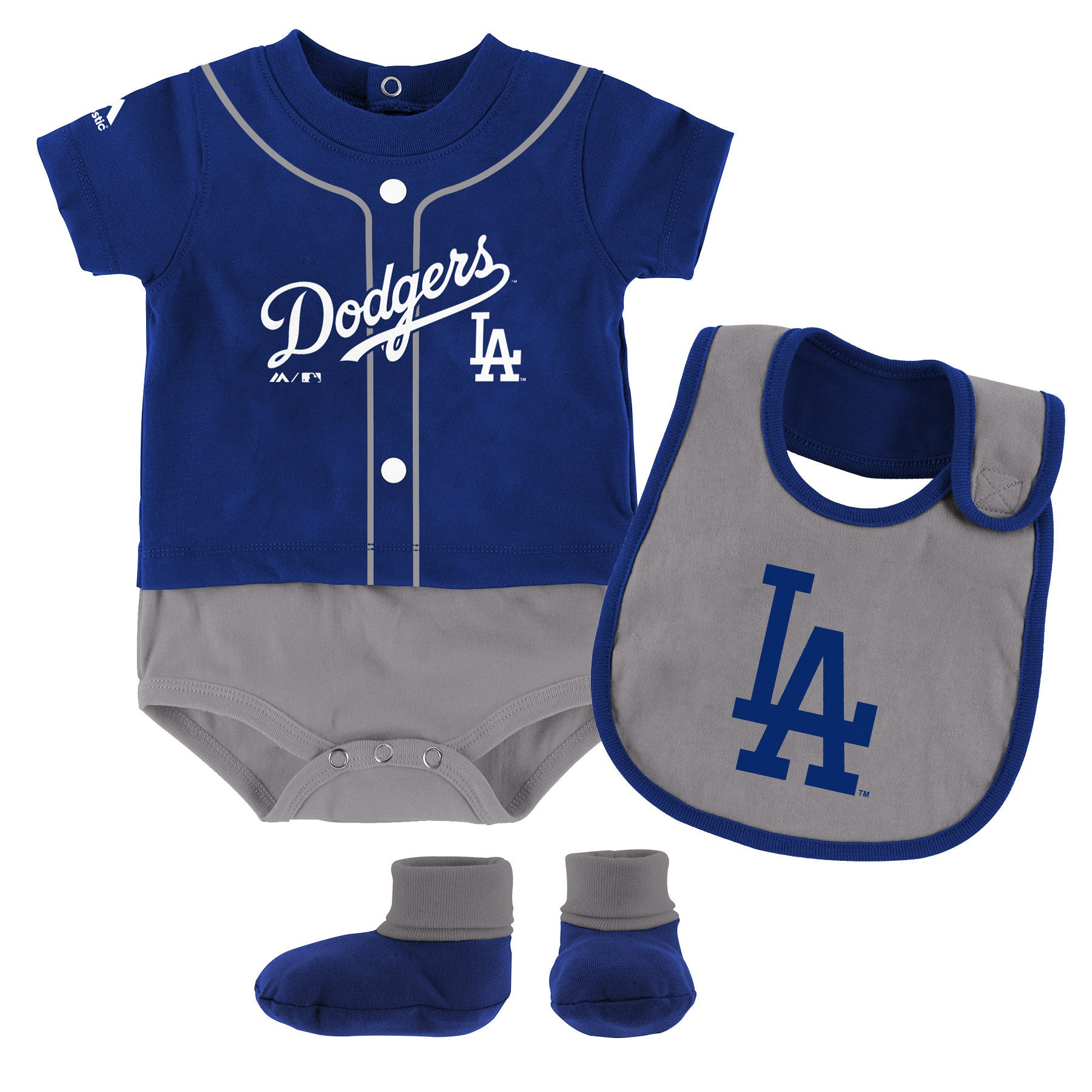 Dodgers Baby Ball Player Creeper Bib and Bootie Set – babyfans 8c9ec2d5c