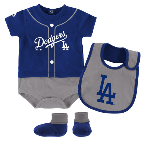Dodgers Baby Ball Player Creeper Bib and Bootie Set