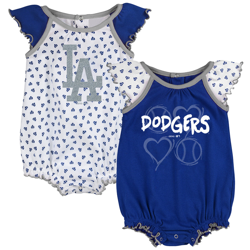 Dodgers Baby Girl Hearts Duo Bodysuit Set