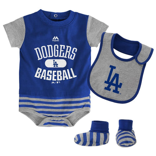 Los angeles dodgers baby clothing babyfans babyfans dodgers baby onesie bib and bootie set negle Choice Image