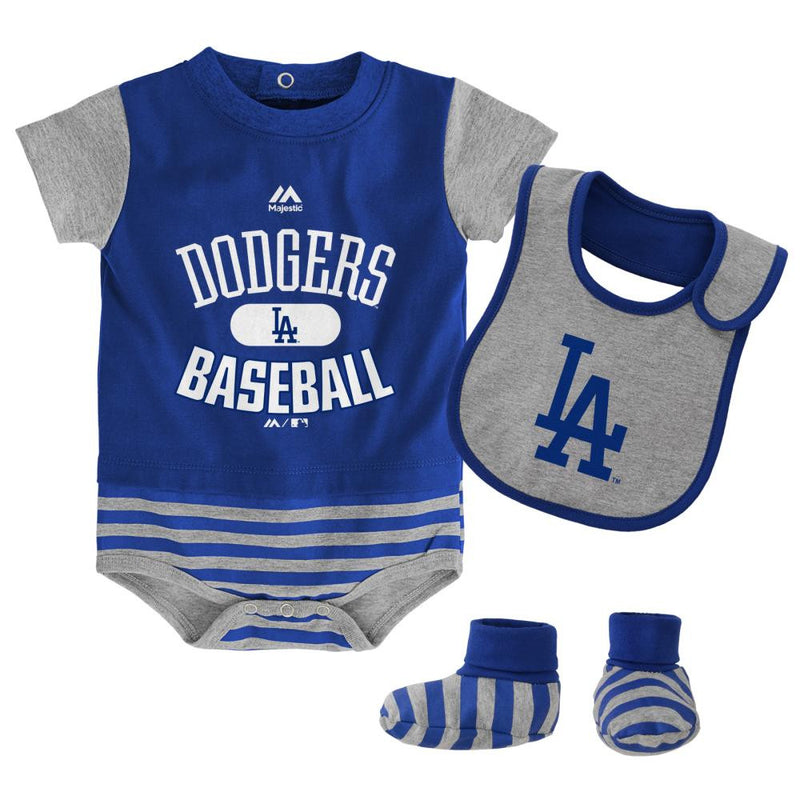Dodgers Baby Onesie, Bib and Bootie Set