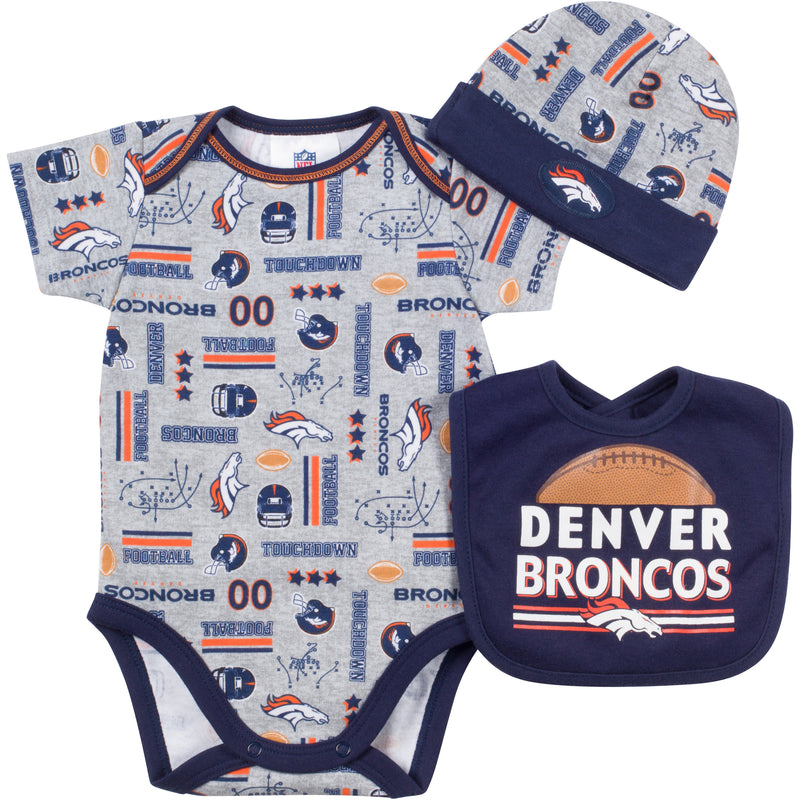 Baby Broncos Fan Onesie, Cap and Bib