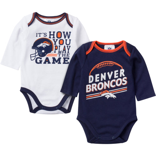 Baby Broncos Fan Long Sleeve Onesie 2 Pack