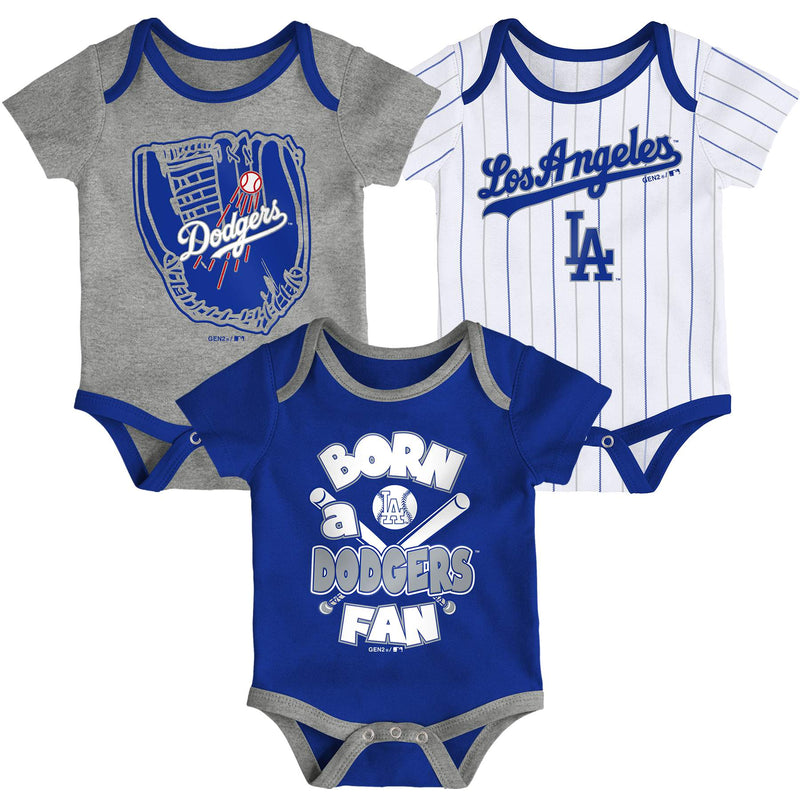 Dodgers Baseball Fan 3 Pack Bodysuit Set