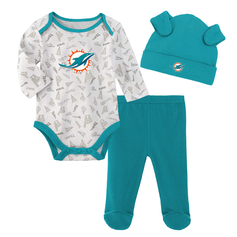 Dolphins Baby Bodysuit, Pants and Cap Set